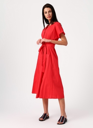 Koton Koton V Yaka Kırmızı Elbise Kırmızı